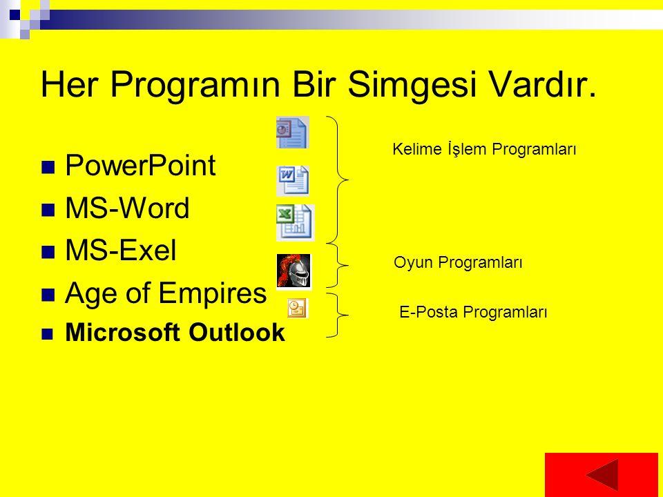 Her Programın Bir Simgesi Vardır. PowerPoint MS-Word MS-Exel Age of Empires Microsoft Outlook Kelime İşlem Programları Oyun Programları E-Posta Progra