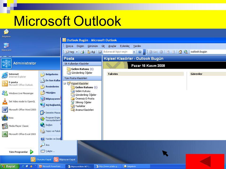 Microsoft Outlook E-posta ve fakslara ulaşmak ve gerektiğinde e-posta ve faks göndermeye yarar
