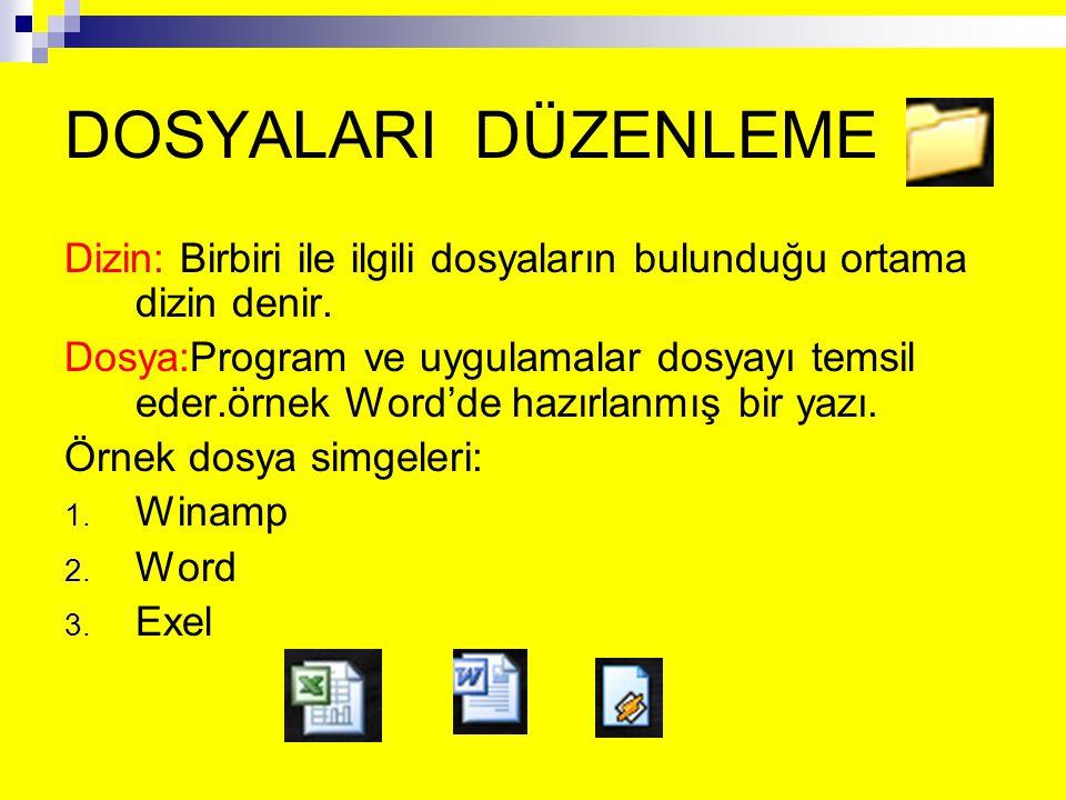 DOSYALARI DÜZENLEME Dizin: Birbiri ile ilgili dosyaların bulunduğu ortama dizin denir. Dosya:Program ve uygulamalar dosyayı temsil eder.örnek Word'de