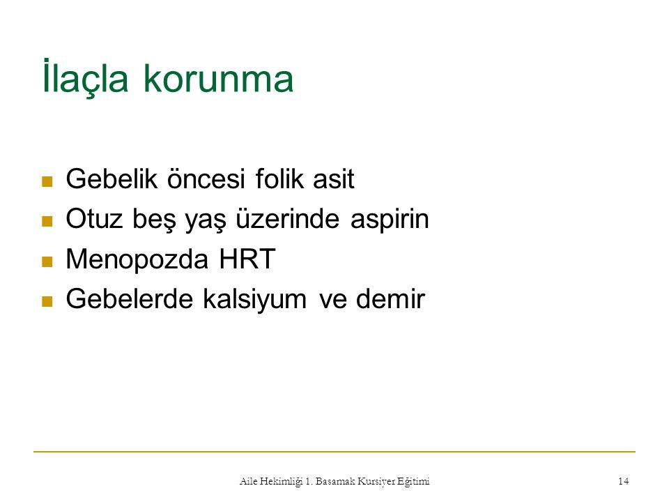Aile Hekimliği 1. Basamak Kursiyer Eğitimi 14 İlaçla korunma Gebelik öncesi folik asit Otuz beş yaş üzerinde aspirin Menopozda HRT Gebelerde kalsiyum
