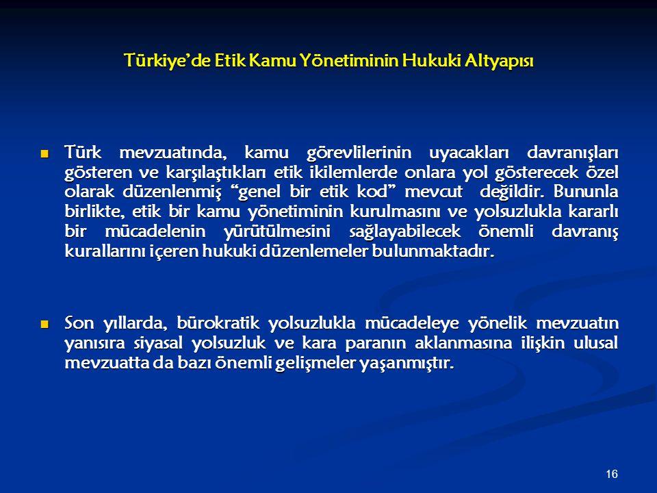 16 Türkiye'de Etik Kamu Yönetiminin Hukuki Altyapısı Türk mevzuatında, kamu görevlilerinin uyacakları davranışları gösteren ve karşılaştıkları etik ik