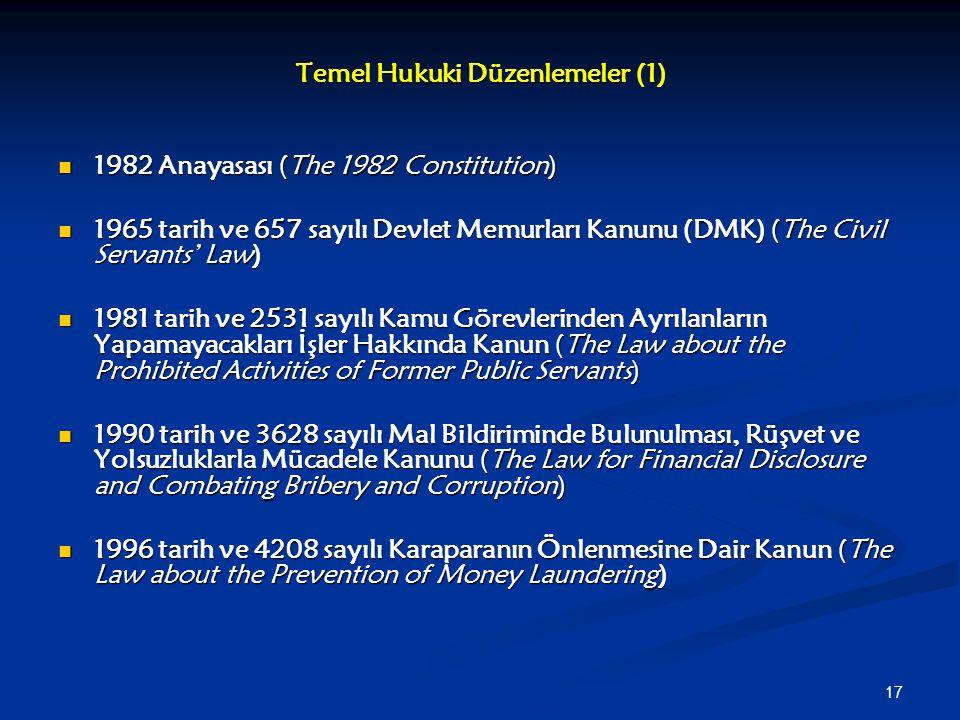 17 Temel Hukuki Düzenlemeler (1) 1982 Anayasası (The 1982 Constitution) 1982 Anayasası (The 1982 Constitution) 1965 tarih ve 657 sayılı Devlet Memurla