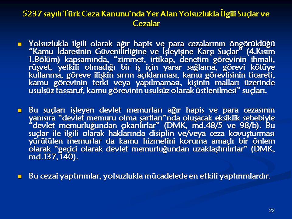 22 5237 sayılı Türk Ceza Kanunu'nda Yer Alan Yolsuzlukla İlgili Suçlar ve Cezalar Yolsuzlukla ilgili olarak ağır hapis ve para cezalarının öngörüldüğü
