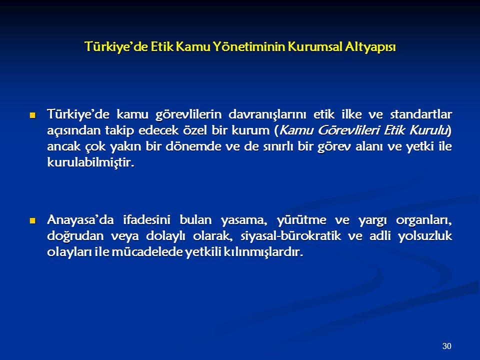 30 Türkiye'de Etik Kamu Yönetiminin Kurumsal Altyapısı Türkiye'de kamu görevlilerin davranışlarını etik ilke ve standartlar açısından takip edecek öze