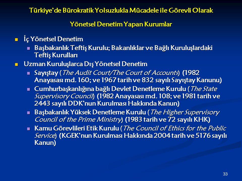 33 Türkiye'de Bürokratik Yolsuzlukla Mücadele ile Görevli Olarak Yönetsel Denetim Yapan Kurumlar İç Yönetsel Denetim İç Yönetsel Denetim Başbakanlık T