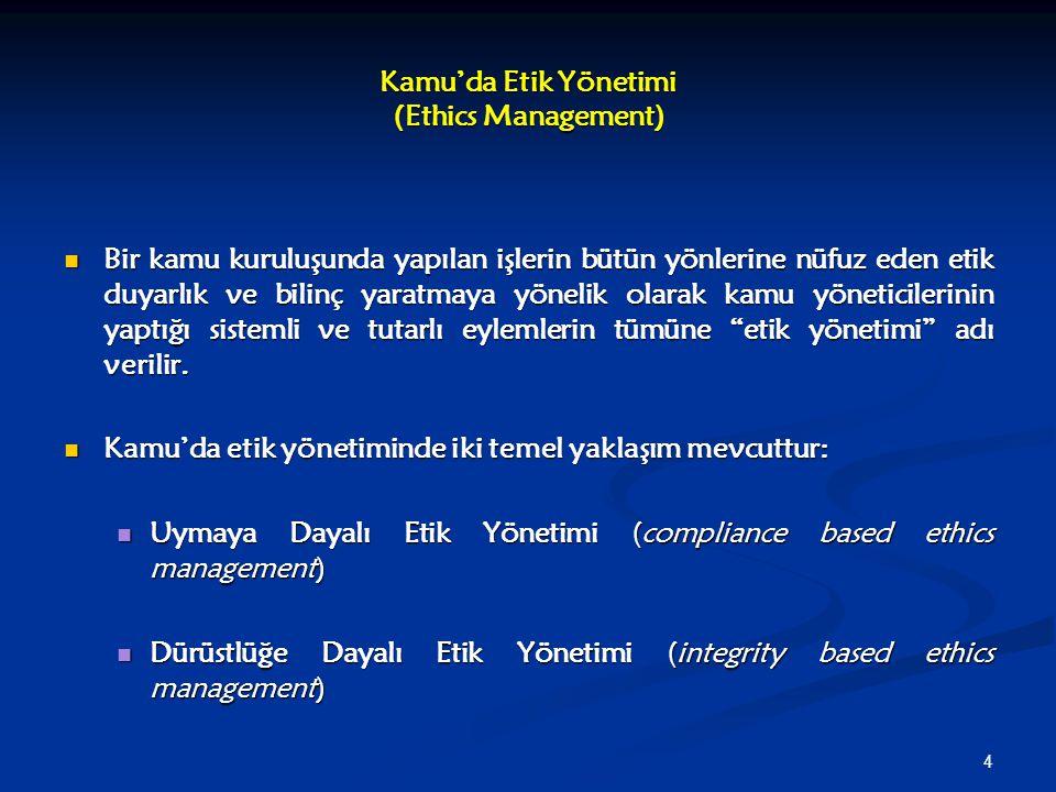 4 Kamu'da Etik Yönetimi (Ethics Management) Bir kamu kuruluşunda yapılan işlerin bütün yönlerine nüfuz eden etik duyarlık ve bilinç yaratmaya yönelik