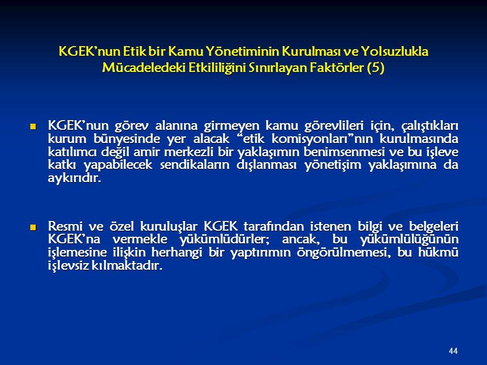 44 KGEK'nun Etik bir Kamu Yönetiminin Kurulması ve Yolsuzlukla Mücadeledeki Etkililiğini Sınırlayan Faktörler (5) KGEK'nun görev alanına girmeyen kamu