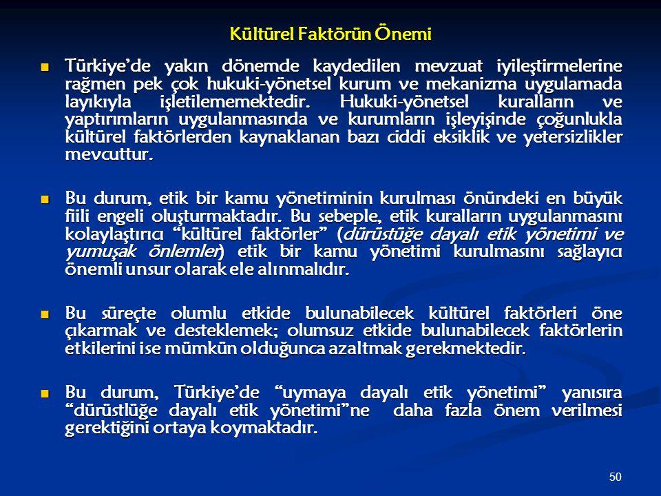 50 Kültürel Faktörün Önemi Türkiye'de yakın dönemde kaydedilen mevzuat iyileştirmelerine rağmen pek çok hukuki-yönetsel kurum ve mekanizma uygulamada
