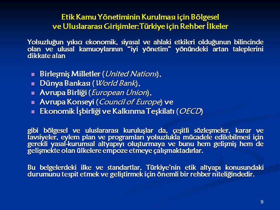 9 Etik Kamu Yönetiminin Kurulması için Bölgesel ve Uluslararası Girişimler:Türkiye için Rehber İlkeler Yolsuzluğun yıkıcı ekonomik, siyasal ve ahlaki