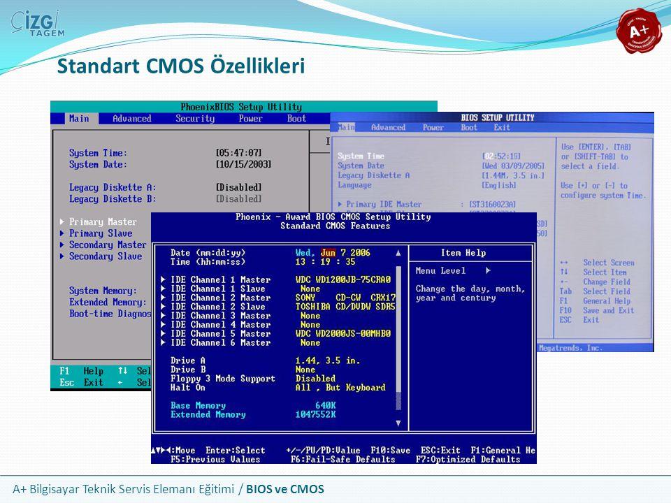 A+ Bilgisayar Teknik Servis Elemanı Eğitimi / BIOS ve CMOS Standart CMOS Özellikleri