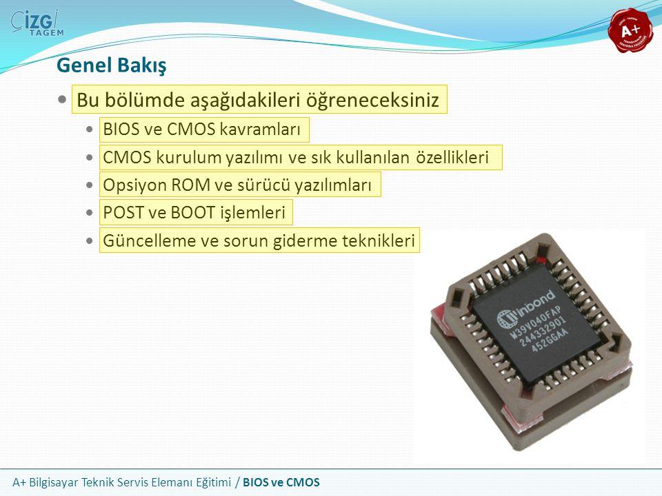 A+ Bilgisayar Teknik Servis Elemanı Eğitimi / BIOS ve CMOS Genel Bakış Bu bölümde aşağıdakileri öğreneceksiniz BIOS ve CMOS kavramları CMOS kurulum ya