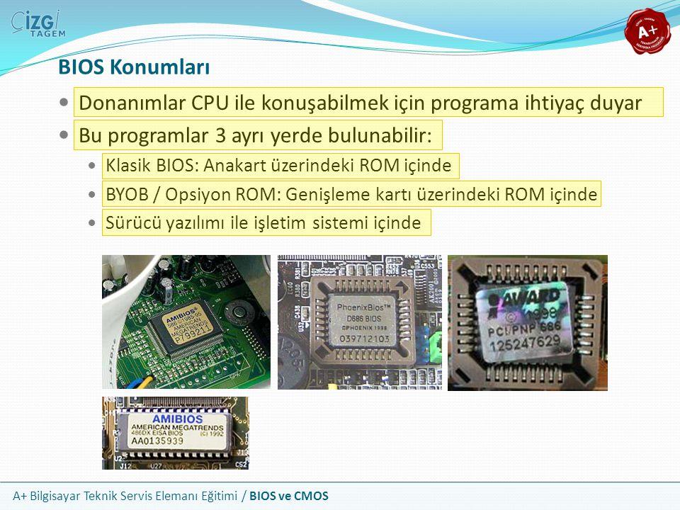 A+ Bilgisayar Teknik Servis Elemanı Eğitimi / BIOS ve CMOS BIOS Konumları Donanımlar CPU ile konuşabilmek için programa ihtiyaç duyar Bu programlar 3