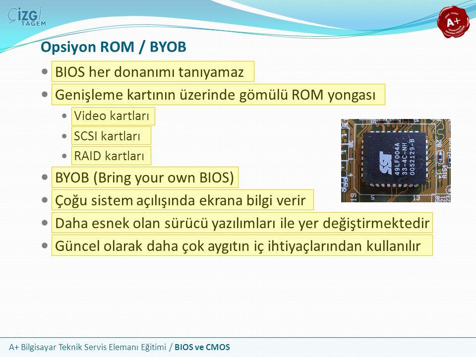 A+ Bilgisayar Teknik Servis Elemanı Eğitimi / BIOS ve CMOS BIOS her donanımı tanıyamaz Genişleme kartının üzerinde gömülü ROM yongası Video kartları S