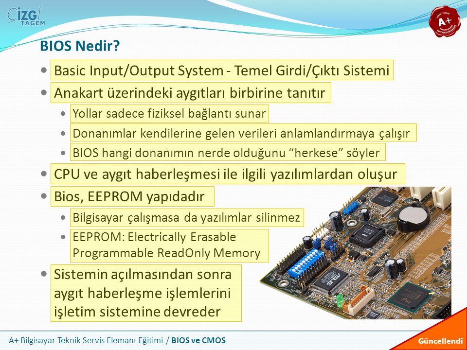 A+ Bilgisayar Teknik Servis Elemanı Eğitimi / BIOS ve CMOS BIOS Nedir? Basic Input/Output System - Temel Girdi/Çıktı Sistemi Anakart üzerindeki aygıtl