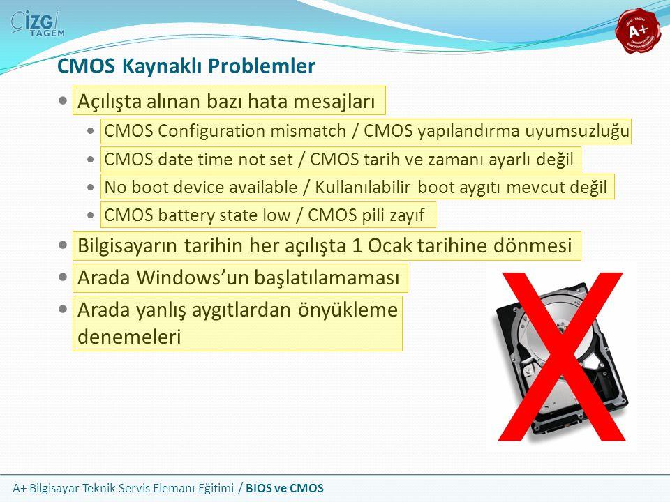 A+ Bilgisayar Teknik Servis Elemanı Eğitimi / BIOS ve CMOS Açılışta alınan bazı hata mesajları CMOS Configuration mismatch / CMOS yapılandırma uyumsuz