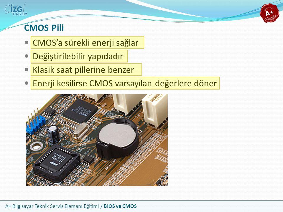 A+ Bilgisayar Teknik Servis Elemanı Eğitimi / BIOS ve CMOS CMOS Pili CMOS'a sürekli enerji sağlar Değiştirilebilir yapıdadır Klasik saat pillerine ben
