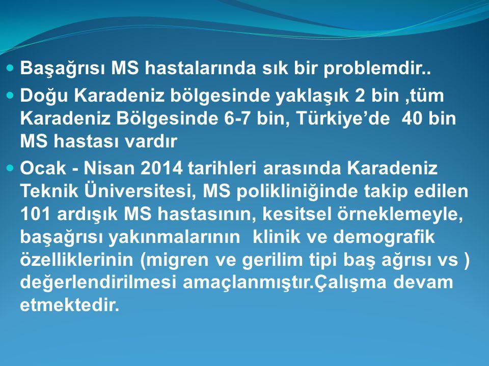 Başağrısı MS hastalarında sık bir problemdir.. Doğu Karadeniz bölgesinde yaklaşık 2 bin,tüm Karadeniz Bölgesinde 6-7 bin, Türkiye'de 40 bin MS hastası