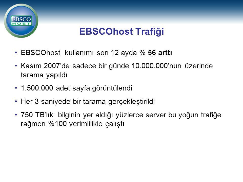 EBSCOhost Trafiği EBSCOhost kullanımı son 12 ayda % 56 arttı Kasım 2007'de sadece bir günde 10.000.000'nun üzerinde tarama yapıldı 1.500.000 adet sayf