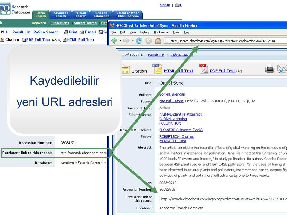 Kaydedilebilir yeni URL adresleri