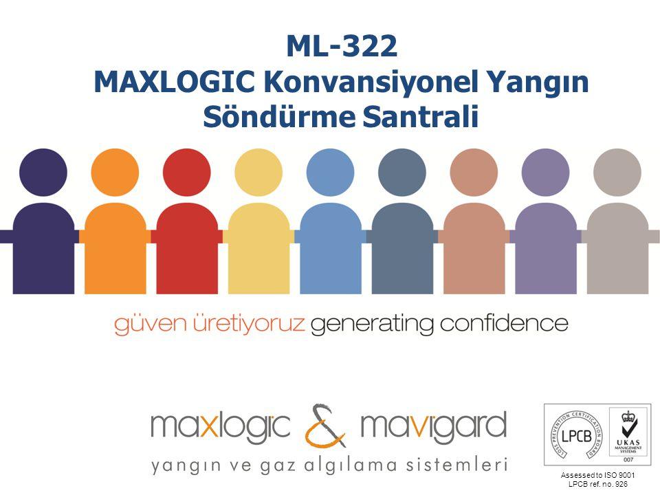 Assessed to ISO 9001 LPCB ref. no. 926 ML-322 MAXLOGIC Konvansiyonel Yangın Söndürme Santrali