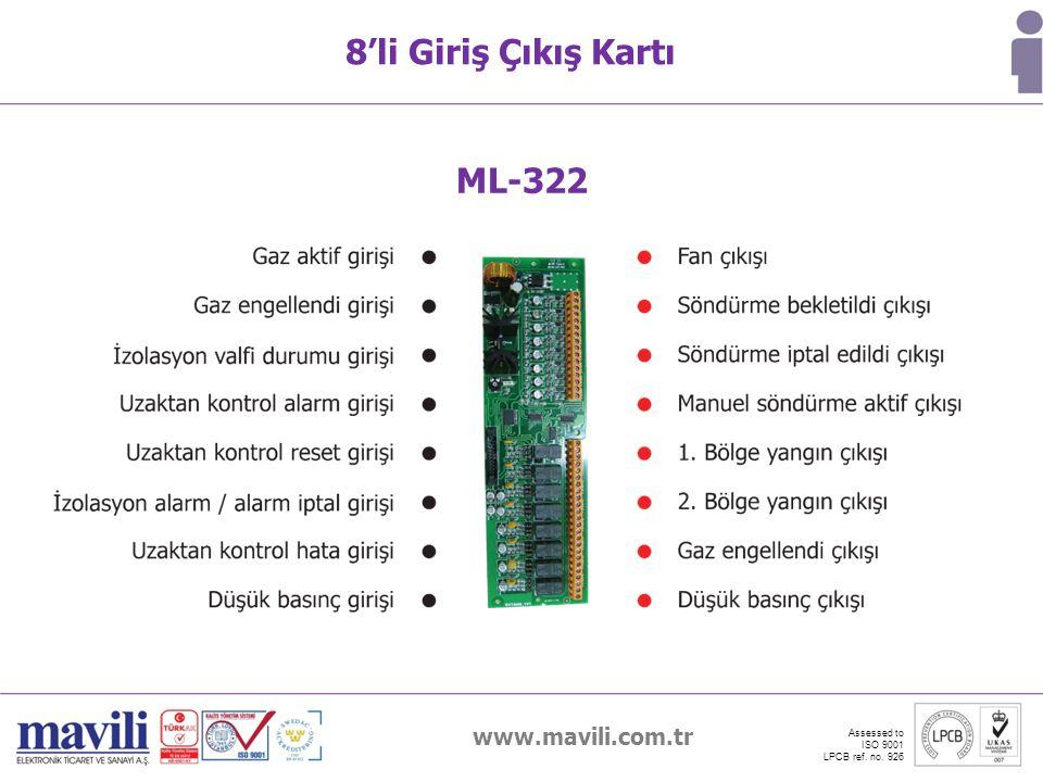 www.mavili.com.tr Assessed to ISO 9001 LPCB ref. no. 926 8'li Giriş Çıkış Kartı ML-322