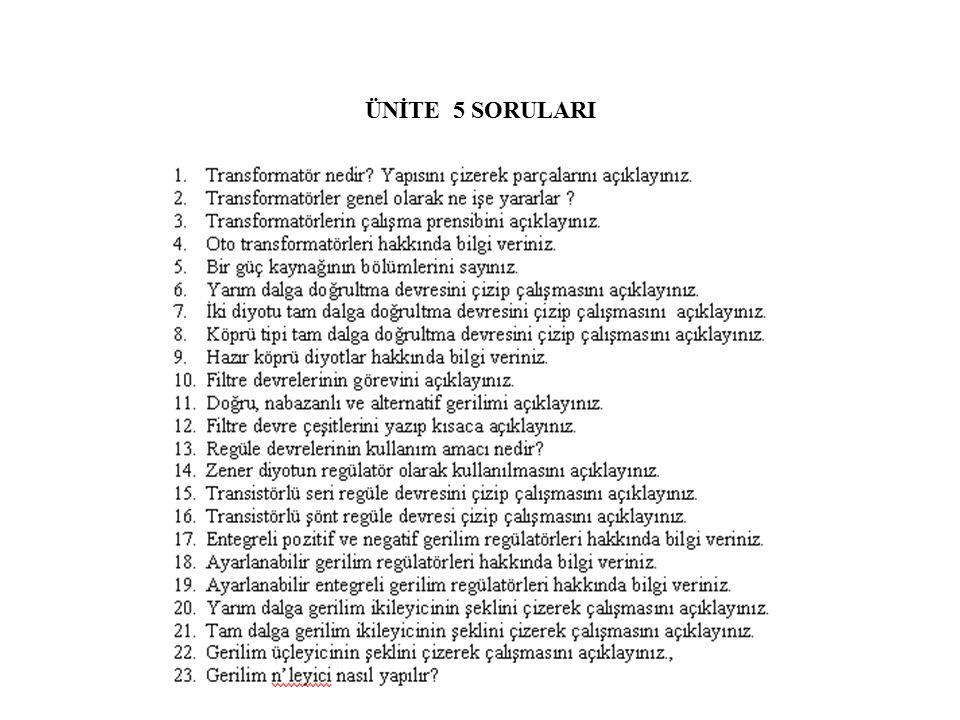 ÜNİTE 5 SORULARI