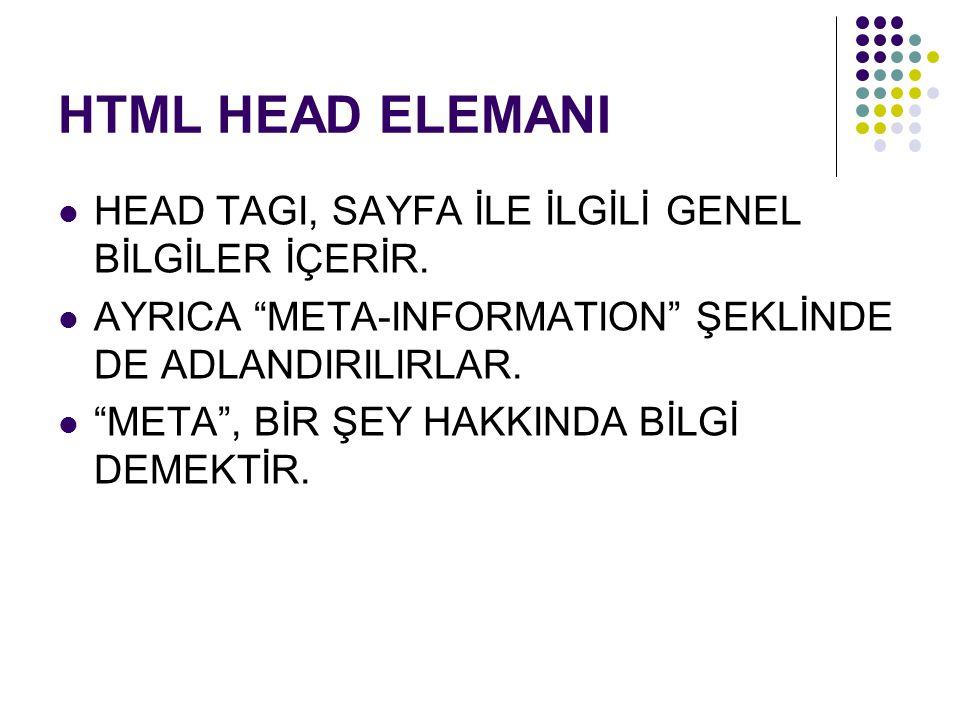 HTML HEAD ELEMANI HEAD TAGI, SAYFA İLE İLGİLİ GENEL BİLGİLER İÇERİR.