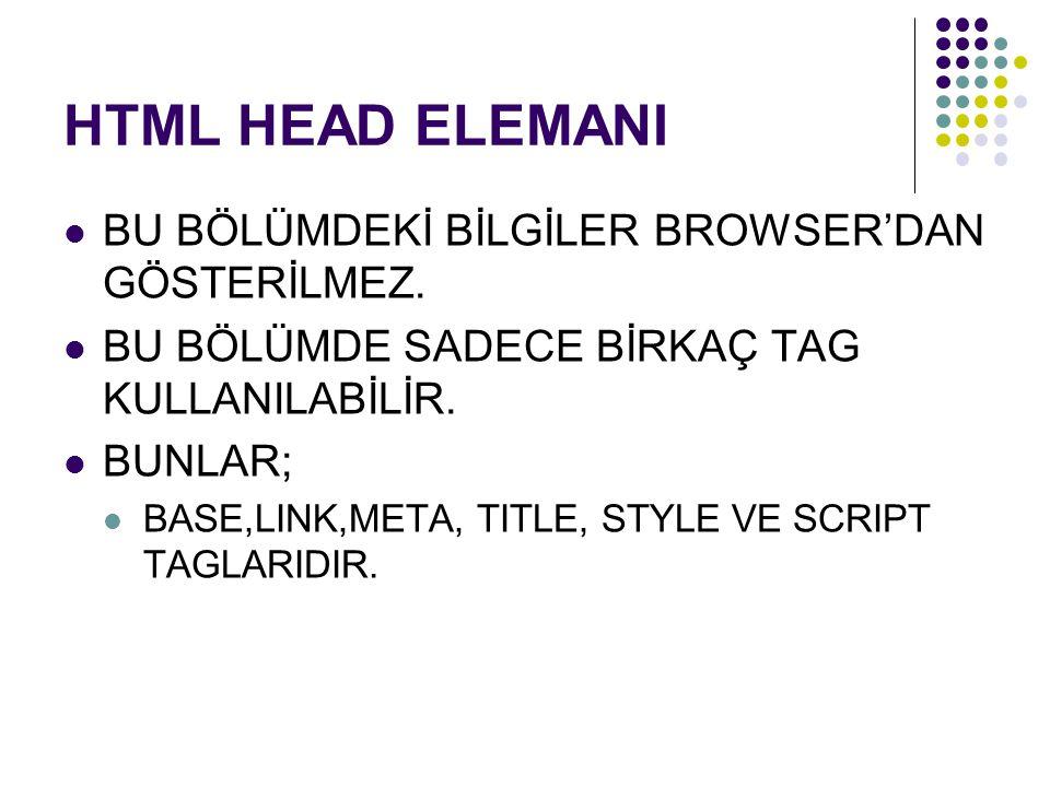 HTML HEAD ELEMANI BU BÖLÜMDEKİ BİLGİLER BROWSER'DAN GÖSTERİLMEZ.