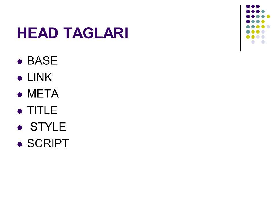 HEAD TAGLARI BASE LINK META TITLE STYLE SCRIPT