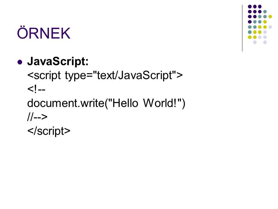 ÖRNEK JavaScript: