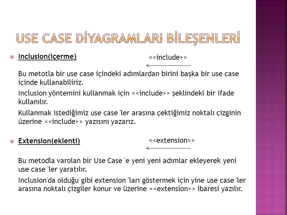  Inclusion(içerme) Bu metotla bir use case içindeki adımlardan birini başka bir use case içinde kullanabiliriz. Inclusion yöntemini kullanmak için >
