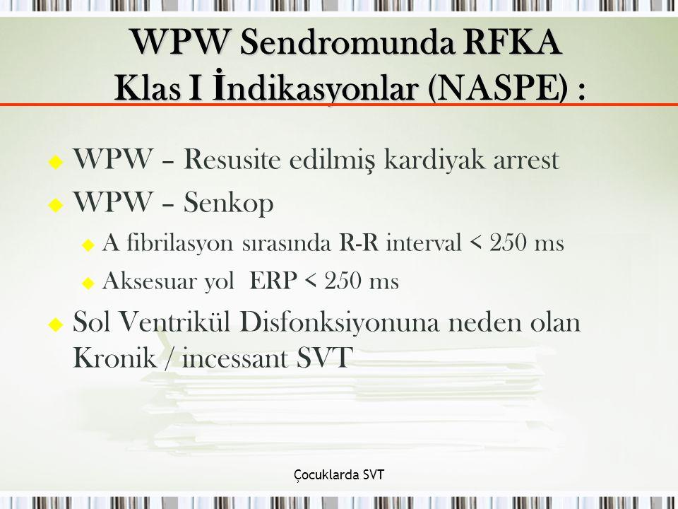 Çocuklarda SVT u WPW – Resusite edilmi ş kardiyak arrest u WPW – Senkop u A fibrilasyon sırasında R-R interval < 250 ms u Aksesuar yol ERP < 250 ms u
