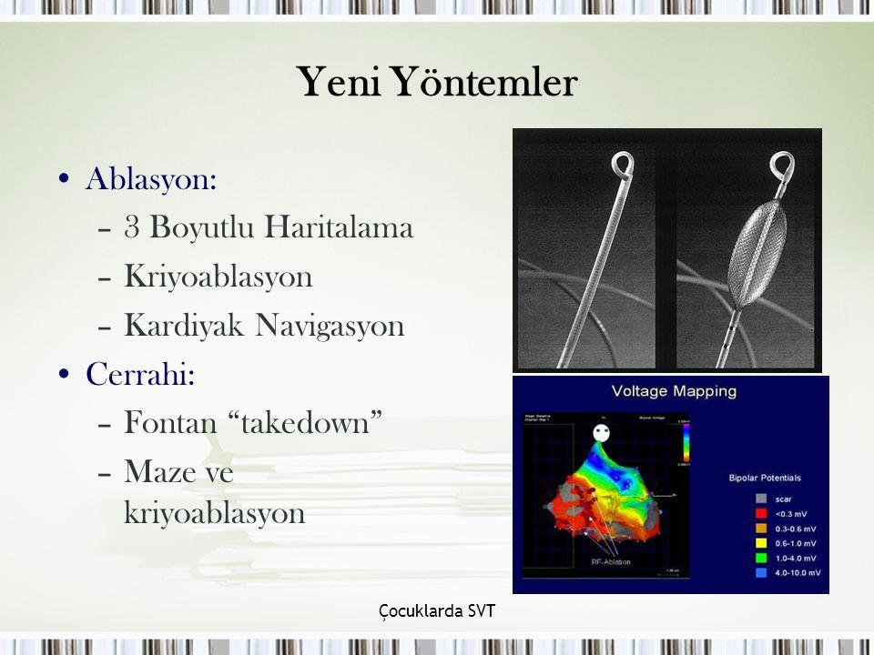 Çocuklarda SVT Yeni Yöntemler Ablasyon: –3 Boyutlu Haritalama –Kriyoablasyon –Kardiyak Navigasyon Cerrahi: –Fontan takedown –Maze ve kriyoablasyon