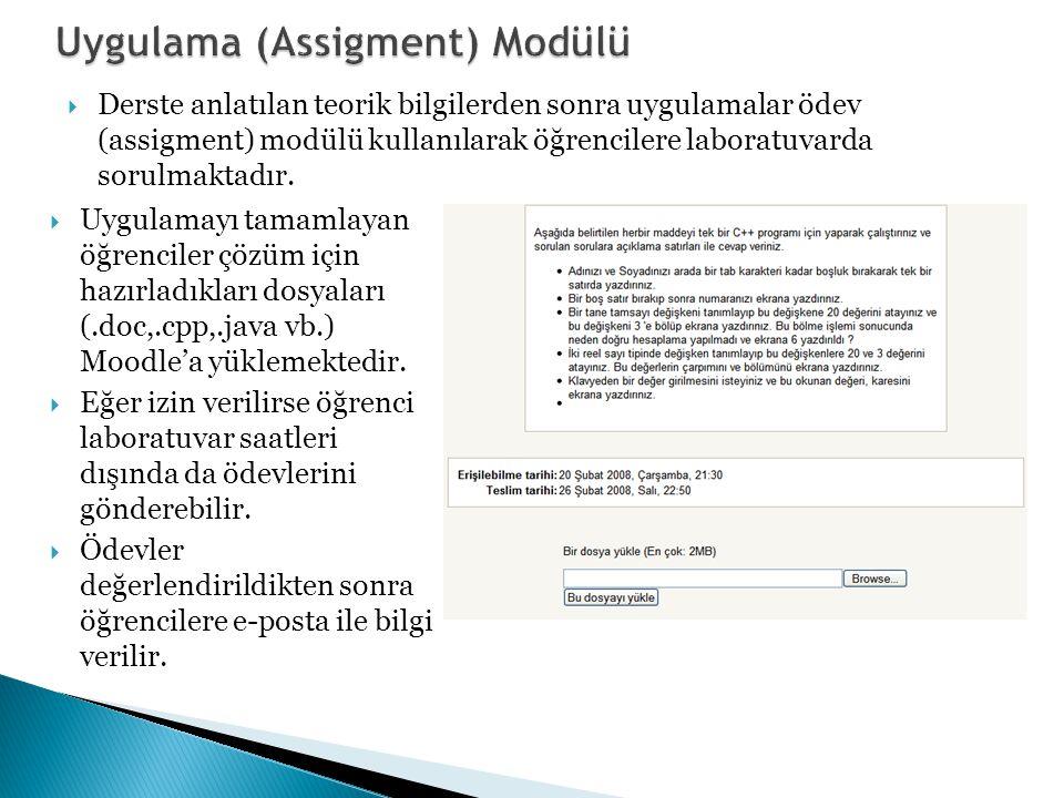  Derste anlatılan teorik bilgilerden sonra uygulamalar ödev (assigment) modülü kullanılarak öğrencilere laboratuvarda sorulmaktadır.