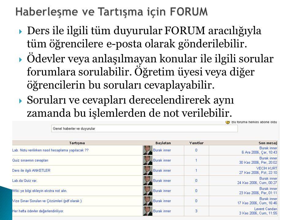  Ders ile ilgili tüm duyurular FORUM aracılığıyla tüm öğrencilere e-posta olarak gönderilebilir.