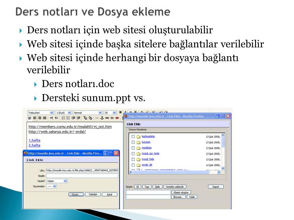  Ders notları için web sitesi oluşturulabilir  Web sitesi içinde başka sitelere bağlantılar verilebilir  Web sitesi içinde herhangi bir dosyaya bağlantı verilebilir  Ders notları.doc  Dersteki sunum.ppt vs.