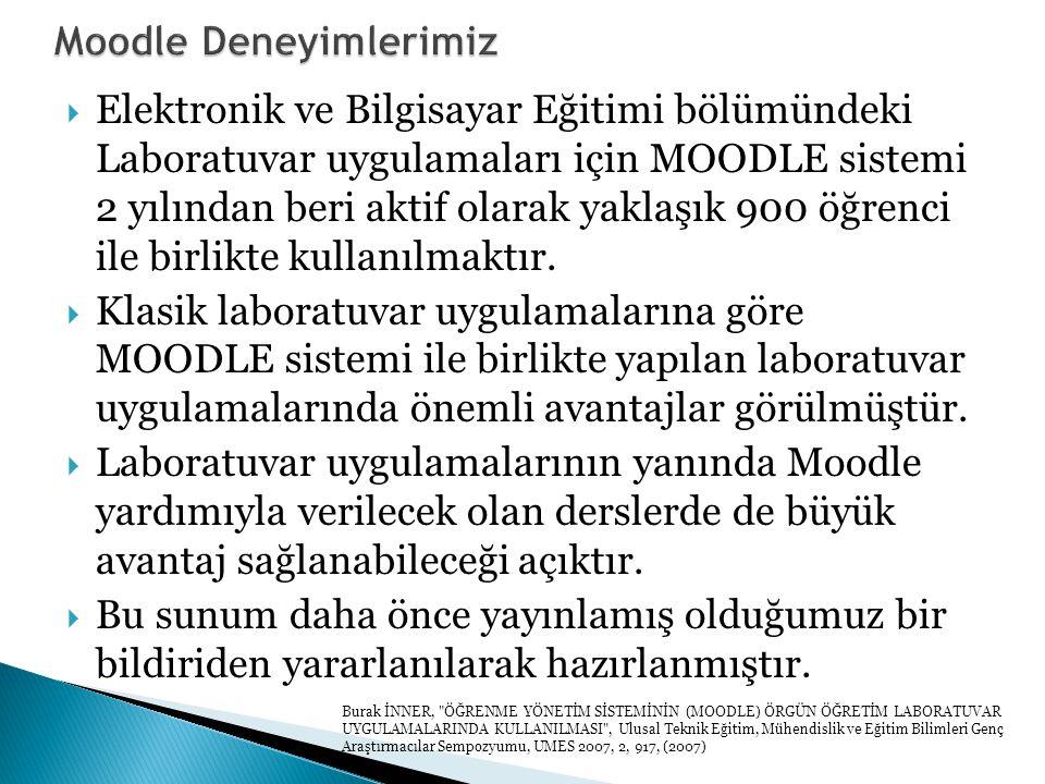  Elektronik ve Bilgisayar Eğitimi bölümündeki Laboratuvar uygulamaları için MOODLE sistemi 2 yılından beri aktif olarak yaklaşık 900 öğrenci ile birlikte kullanılmaktır.