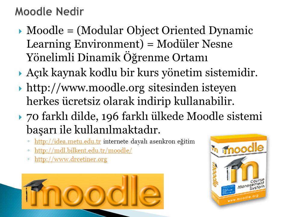  Moodle = (Modular Object Oriented Dynamic Learning Environment) = Modüler Nesne Yönelimli Dinamik Öğrenme Ortamı  Açık kaynak kodlu bir kurs yönetim sistemidir.