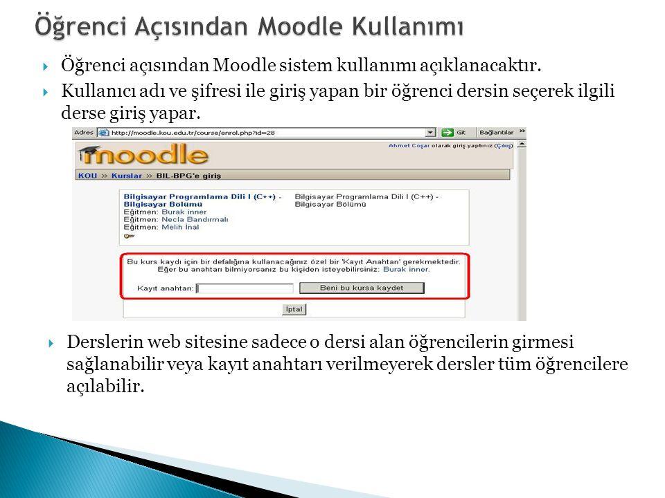  Öğrenci açısından Moodle sistem kullanımı açıklanacaktır.