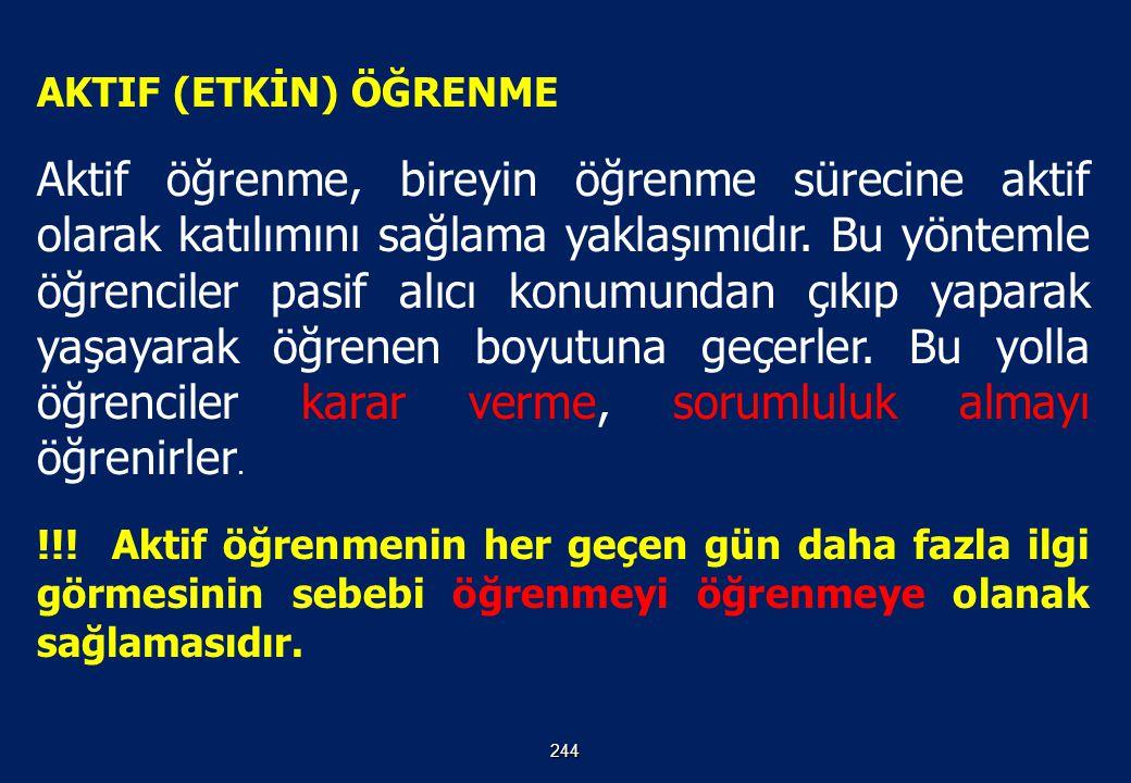 AKTIF (ETKİN) ÖĞRENME 243