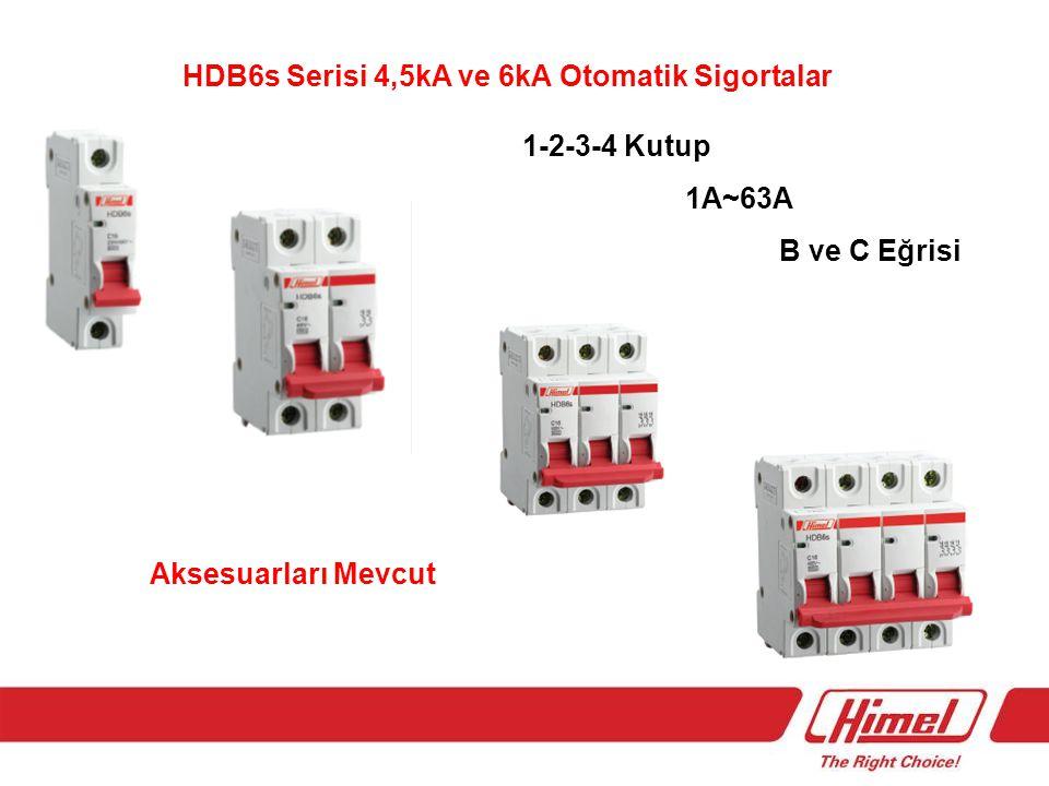 HDB6s Serisi 4,5kA ve 6kA Otomatik Sigortalar 1-2-3-4 Kutup 1A~63A B ve C Eğrisi Aksesuarları Mevcut