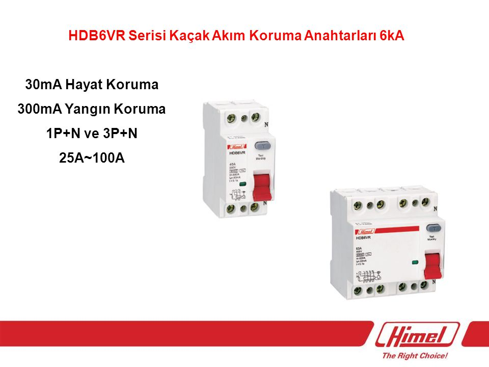 HDB6VR Serisi Kaçak Akım Koruma Anahtarları 6kA 30mA Hayat Koruma 300mA Yangın Koruma 1P+N ve 3P+N 25A~100A
