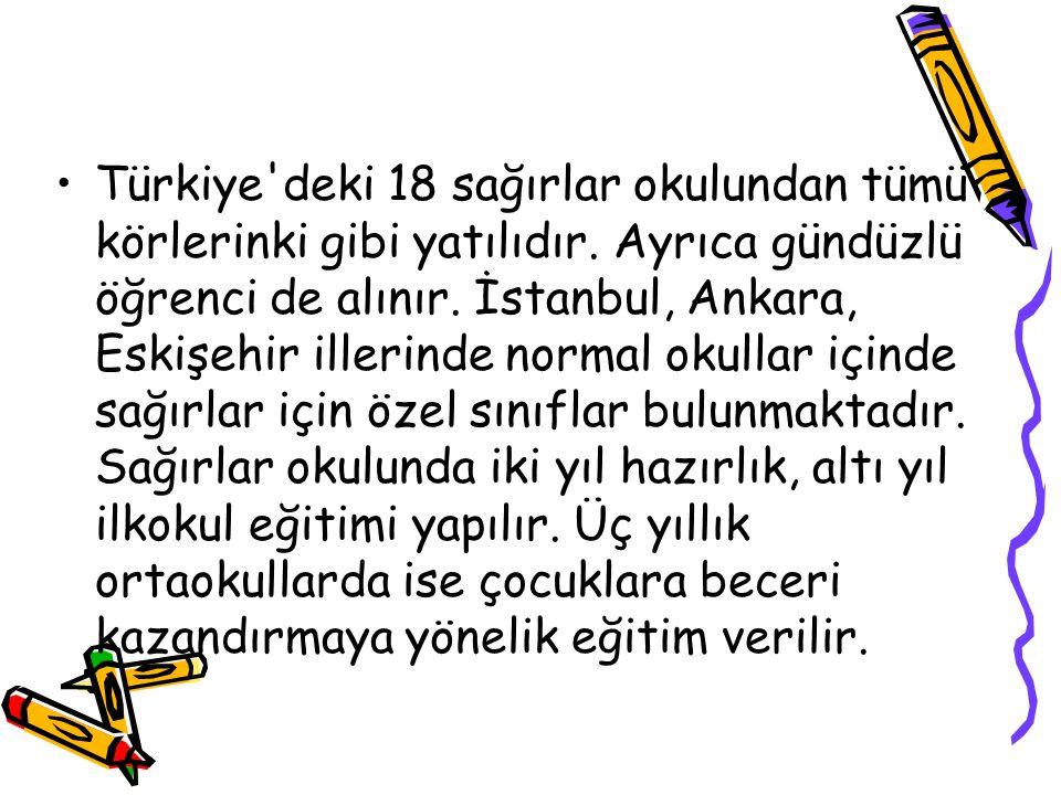 Türkiye'deki 18 sağırlar okulundan tümü körlerinki gibi yatılıdır. Ayrıca gündüzlü öğrenci de alınır. İstanbul, Ankara, Eskişehir illerinde normal oku