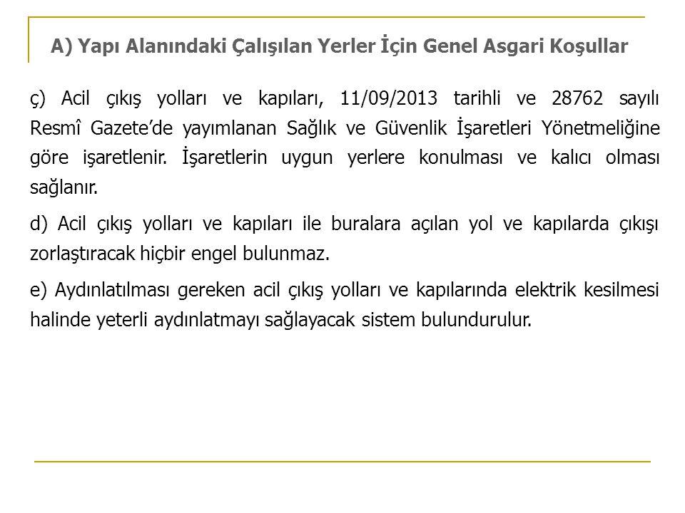 ç) Acil çıkış yolları ve kapıları, 11/09/2013 tarihli ve 28762 sayılı Resmî Gazete'de yayımlanan Sağlık ve Güvenlik İşaretleri Yönetmeliğine göre işar