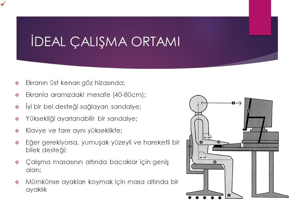 İDEAL ÇALIŞMA ORTAMI  Ekranın üst kenarı göz hizasında;  Ekranla aramızdaki mesafe (40-80cm);  İyi bir bel desteği sağlayan sandalye;  Yüksekliği