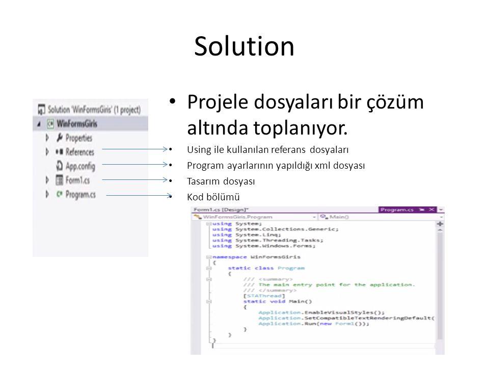 Solution Projele dosyaları bir çözüm altında toplanıyor. Using ile kullanılan referans dosyaları Program ayarlarının yapıldığı xml dosyası Tasarım dos