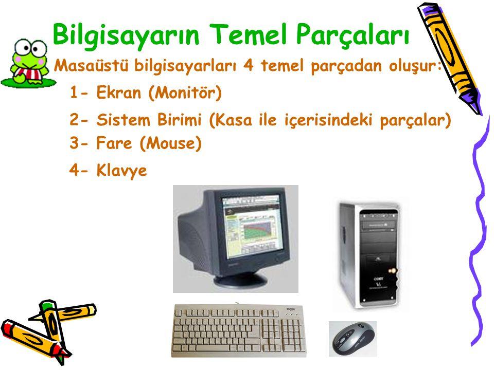 Bilgisayarın Temel Parçaları Masaüstü bilgisayarları 4 temel parçadan oluşur: 1- Ekran (Monitör) 2- Sistem Birimi (Kasa ile içerisindeki parçalar) 3- Fare (Mouse) 4- Klavye