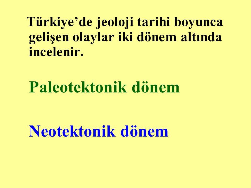 Türkiye'de jeoloji tarihi boyunca gelişen olaylar iki dönem altında incelenir. Paleotektonik dönem Neotektonik dönem
