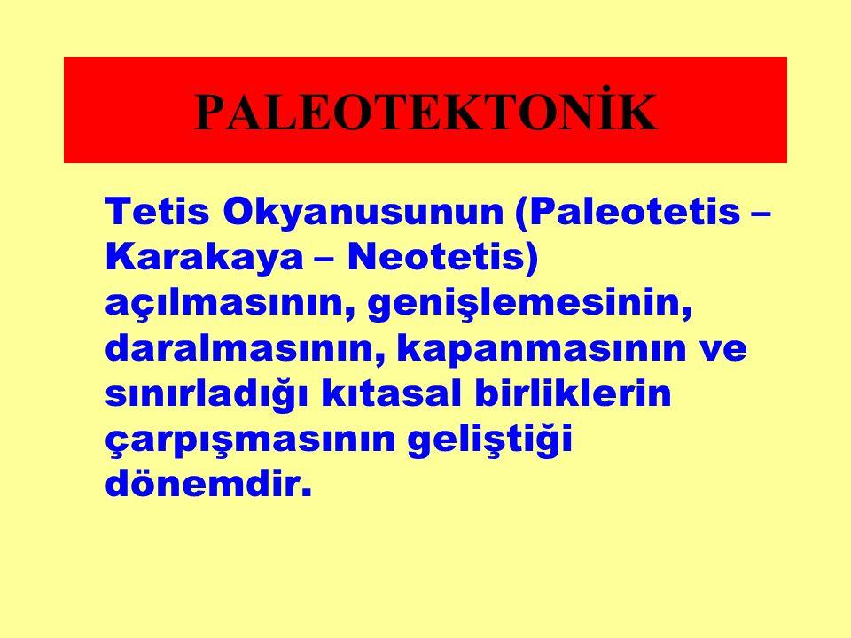 Tetis Okyanusunun (Paleotetis – Karakaya – Neotetis) açılmasının, genişlemesinin, daralmasının, kapanmasının ve sınırladığı kıtasal birliklerin çarpış
