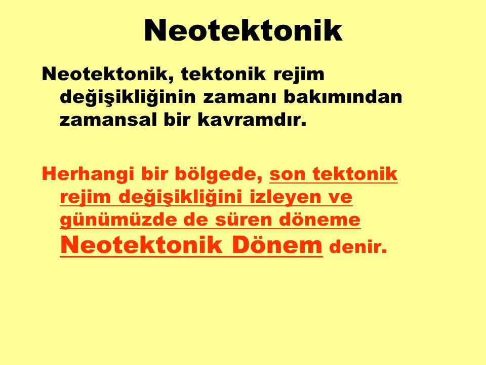 Neotektonik Neotektonik, tektonik rejim değişikliğinin zamanı bakımından zamansal bir kavramdır. Herhangi bir bölgede, son tektonik rejim değişikliğin